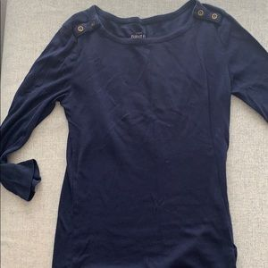 JCrew Women's Boatneck Navy Long Sleeved Shirt